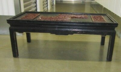 Vintage Black Chinese Coffee Table w Carved Relief Plaque-Glass Missing-Very Old