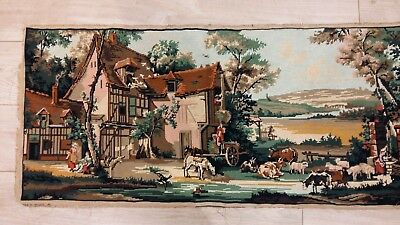 "Handworked completed tapestry ""FARMYARD SCENE"" 113cm x 50cm (approx 44""x 19"")"