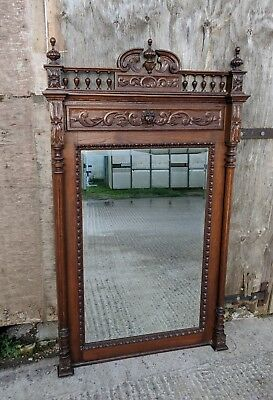 Stunning Large Ornate Antique Flemish Oak Floor or Wall Mirror with Carved Lion