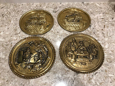 Set of 4 Peerage England Brass Relief Raised Wall Plates