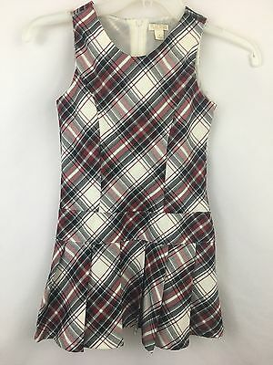 Girls Plaid Jumper 6 Lined Drop Waist Pleated Skirt Black White Red
