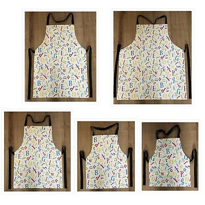 Alphabet and Numbers Wipe Clean PVC Apron - Adult & Child Sizes Available