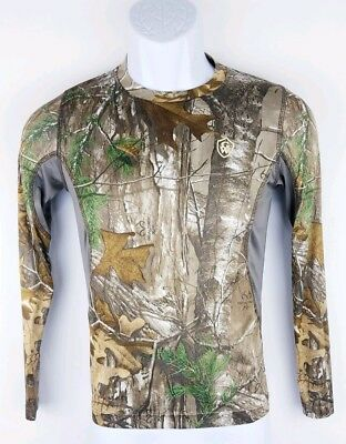 247840910 Game Winner Youth Boys Green Brown Camouflage Long Sleeve Hunting Shirt  Large