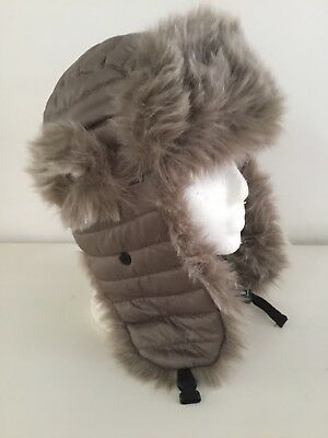 f31b039b7990a John Lewis Taupe Faux Fur Trim Ear Flaps Russian trapper Padded Hat One Size
