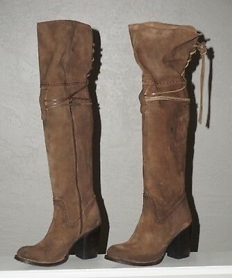 f9939e6be74 Freebird Coal Lace Riding boots boho brown over the knee boots leather suede  9
