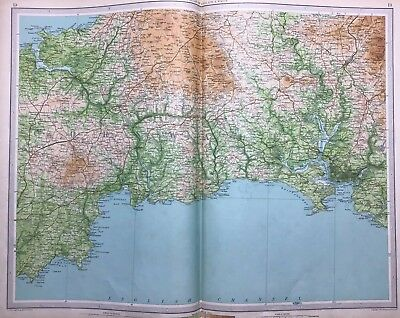 Bodmin and Plymouth, 1939 Vintage Road Map, Bartholomew, England & Wales, Atlas