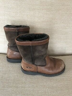6c1734a225d UGG BOOTS BOYS GIRLS YOUTH SiZE 3 RIVERTON LEATHER CHOCOLATE BROWN