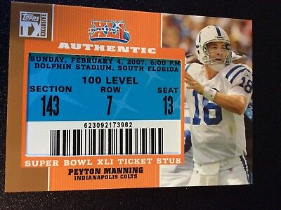 2006 SUPERBOWL PEYTON MANNING COLTS FULL TKT STUB Sports Mem, Cards
