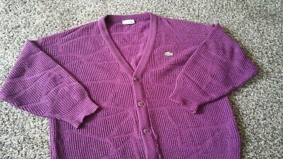 1c68a33c97cb56 Lacoste Vintage 70s Cardigan Jacket Jacke Made in France Size 6 Purple RARE