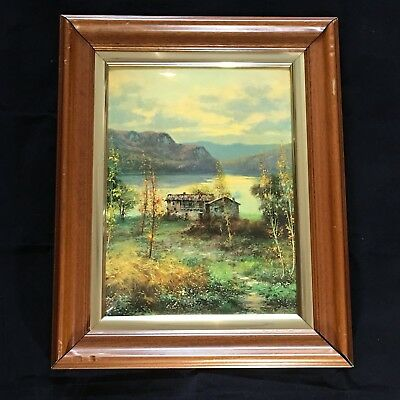 Lake House Print on Metal Of A Painting Signed Esther Framed Wall Art