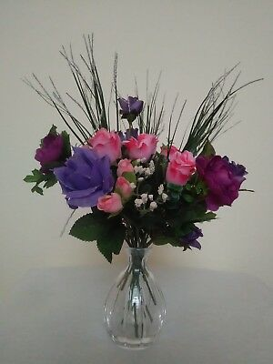 Artificial Flowers Purple & Pink Roses