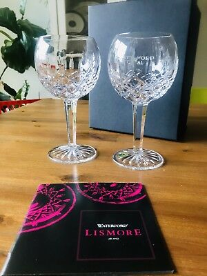 New Inbox* 2 Waterford Crystal *Lismore* Balloon Wine Glasses