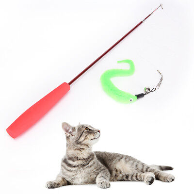 Kitten Cat Toy Mouse On A Rod Teaser Bell Feather Play Pet Dangler Wand LD