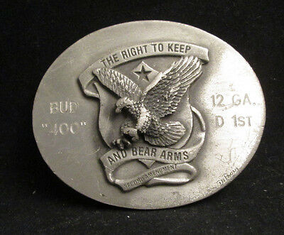 The Right To Keep and Bear Arms Metal Belt Buckle Eagle 1979 Good Lad Products