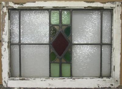 "MID SIZED OLD ENGLISH LEADED STAINED GLASS WINDOW Pretty Diamond 27.75"" x 20.25"""