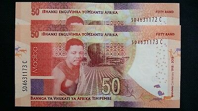 SOUTH AFRICA 50 Rand 2018 P NEW Mandela Centenery x 2 Consecutive UNC Banknotes