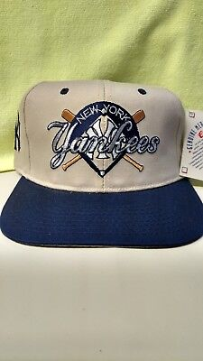 NEW! VINTAGE NEW York Yankees Snapback Licensed Hat (Blue   Khaki ... d37a2543492a