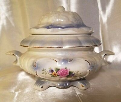 """China Footed Serving Bowl w/ Lid Pearlescent Blue & White Floral 6.5"""" EUC Vtg"""