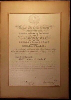 King George V Autograph - Hand Signed Royal Society Certificate as Prince - 1904