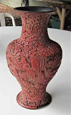 "19th Century Qing Dynasty Chinese Lacquer Cinnabar Vase - 8 1/2"" - Antique"