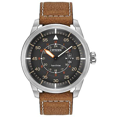 Citizen Men's Eco-Drive Stainless Steel Watch W/Brown Leather Strap # AW1361-10H