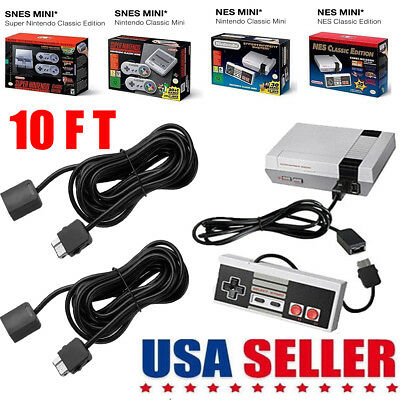 2PCS 10ft Extension Cable Cord for Super Nintendo NES Classic Edition Controller