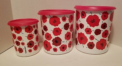 New Tupperware 3 Set One Touch Red Flowers Canisters Containers