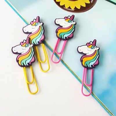 Cartoon Unicorn Metal Bookmark PaperClip School Library Book Stationery New