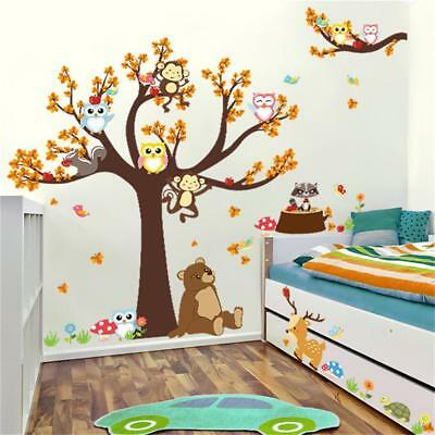 Cartoon Wall Stickers Animal Monkey Tree Forest Owl Baby Kid Room Decal Decor A3