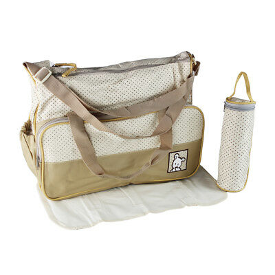 Baby Nappy Changing Bag 3pcs (Bag/ Mat/ Milk bottle holder) Brown