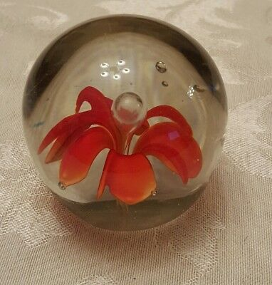 Art Glass Red Flower Paperweight Globe Round Delicate Blown