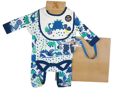 Baby Boys Dinosaur Design Cotton  Layette Outfit Clothing & Gift Bag Set SS19
