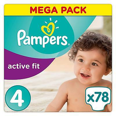 Lot 234 couches PAMPERS active fit taille 4 (3*78)