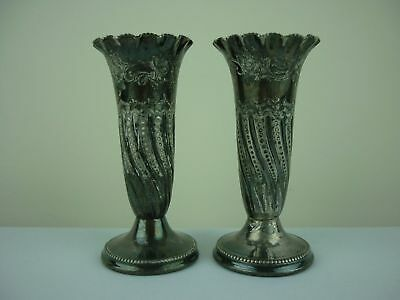 Pair of vintage / antique silver plated posy vases - 10cm tall