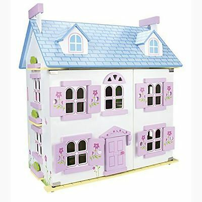 White Leomark Wooden Doll House With Furniture & Dolls Kids Fun Free P+P