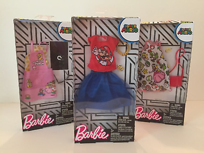 Barbie Super Mario Brothers Lot Of 3 Fashion Sets by Mattel