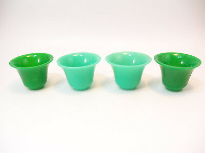 Antique Chinese Peking Glass Wine Cups Imitating Imperial Jade