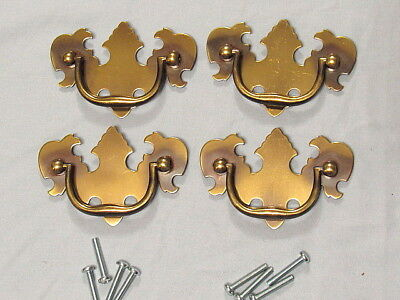"""4 Vintage Brass Chippendale Style Drawer Pulls 2 1/2"""" Center To Center NOS"""