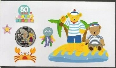 2016 Big Ted 50c Fifty Cent Coloured Coin 50th Anniversary of Play School