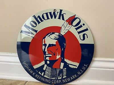 Mohawk oils advertising sign oil gas Round Metal