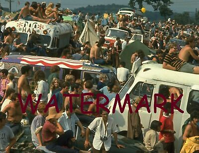 Hippie Buses Parked at the First Ever Woodstock Aug 15th, 1969 Publicity Photo