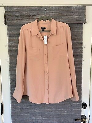 f6d81a50e8a88 J.CREW Collection Silk Lux crepe blouse shirt Size 14 NWT Beige Peach Tan  Nude