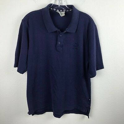 Mens Vintage Adidas Polo Shirt Size M Blue Short Sleeve Cotton Trefoil Emblem