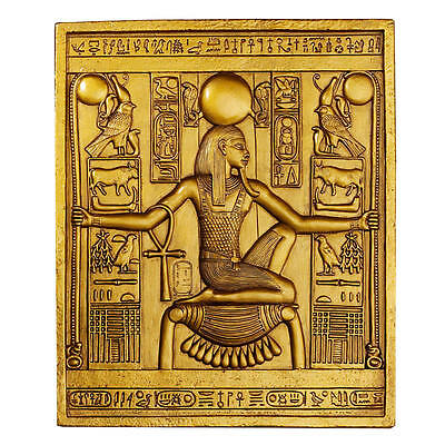 "10"" Boy King Tutankhamen Tut Egyptian Ruler Gold Wall Plaque Sculpture"