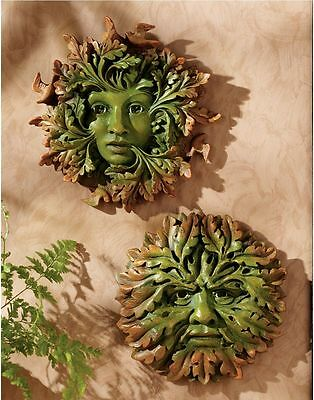 Set of 2: Sages of the Oak Forest Mystical Tree Greenman & Woman Wall Sculpture