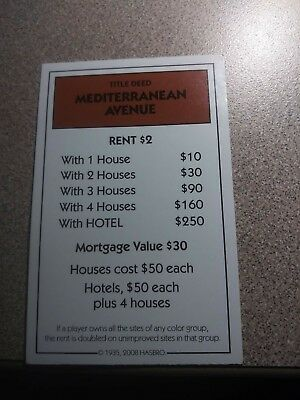 Monopoly Replacement Property Deed Card Illinois Avenue From