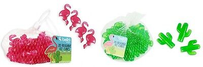 20 x Reusable FLAMINGO CACTUS Ice Cubes Summertime Summer Drinks Ice Blocks Cool
