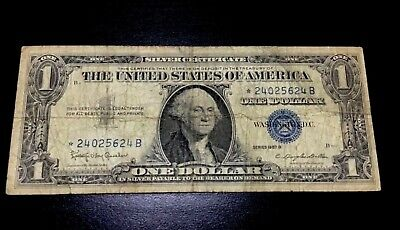 1957-B Star $1 Silver Certificate One Dollar Bill Usa Paper Small Size Currency!