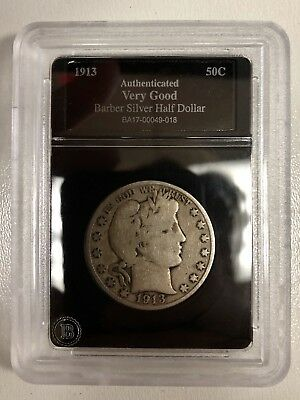 1913-D Antique U.S. Barber Half Dollar Authenticated by Bradford 125*