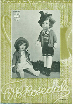 VINTAGE KNITTING PATTERN  COPY - TO KNIT CLOTHES FOR DOLLS-  3ply -1930's